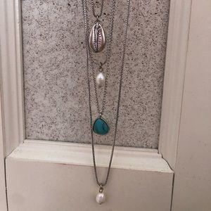 Lucky Brand long layered silver necklace